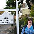 Sunshine at Stonington Lighthouse sign 10-30-09