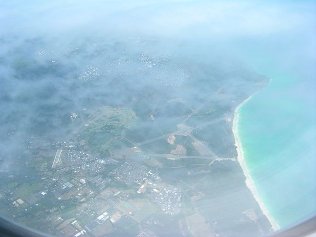 Pictures from the arriving flight to the island of Oahu