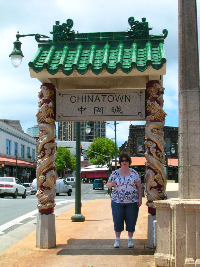 Aurora at the Chinatown Sign