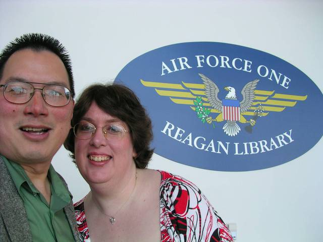 Nicholas and Aurora at the lower level of the Air Force One Reagan Library