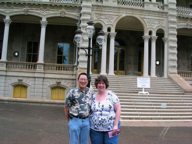 Nicholas and Aurora with the Iolani Palace front in background