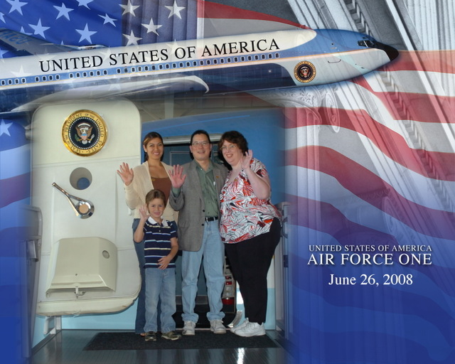 Reagan Library in front of Air Force One with Claudia and Bryan