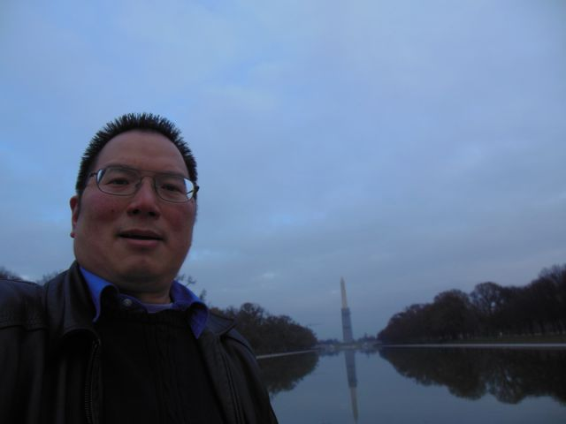 Nicholas from the Reflecting Pool toward the Washington Monument